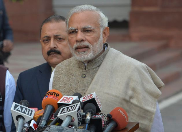 Prime Minister Narendra Modi on the first day of the winter session of Parliament in New