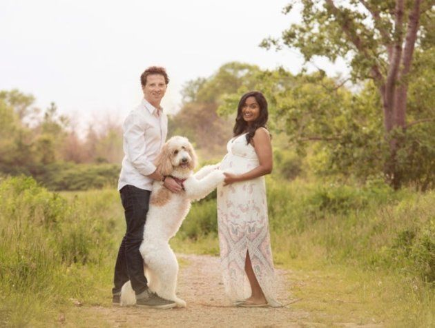 The couple and their dog during Wijayasinghe's pregnancy photo