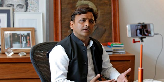 Akhilesh Yadav, Samajwadi Party (SP) President, speaks during an interview with Reuters in Lucknow, India,...