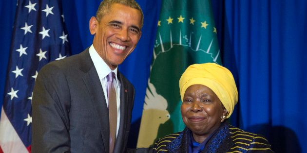 U.S. President Barack Obama, left, shakes hands during a bilateral meeting with African Union Commission...