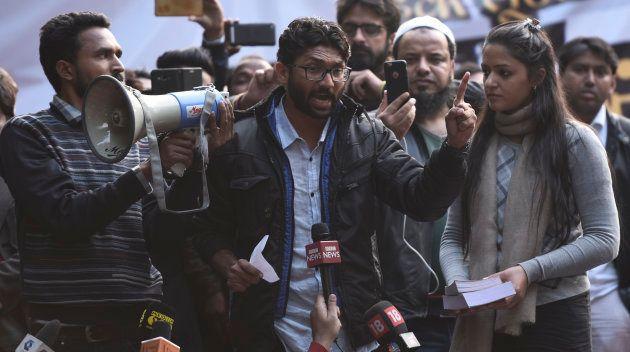 Youth leaders at Jantar Mantar during Hunkar Rally to release Bhim Army chief Chandrashekhar Azad Ravan...