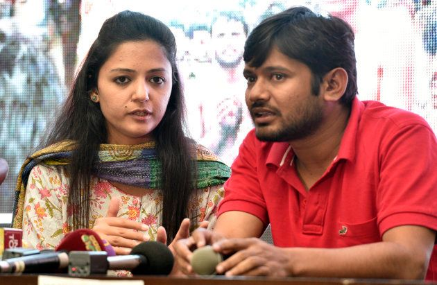 Kanhaiya Kumar, former President of the Jawaharlal Nehru University Student's Union, and Shehla Rashid,...