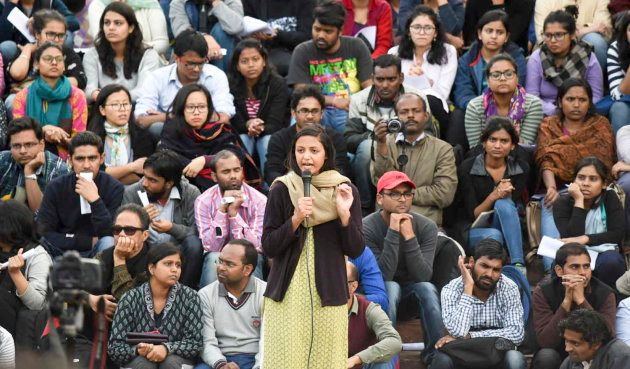 JNUSU Vice President Shehla Rashid speaks to students during their protest against the sedition charges...