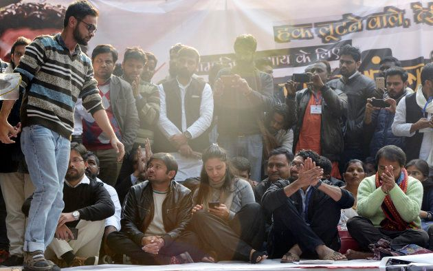 Jignesh Mevani, Shehla Rashid, Kanhaiya Kumar, Umar Khalid and Akhil Gogoi at the Youth Hunkar rally...