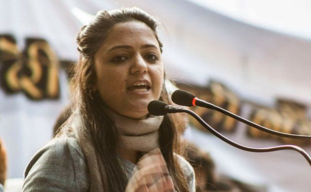Shehla Rashid speaks at the Yuva Hunkar Rally in New Delhi on 9 January,