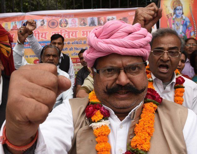 Activists of Akhil Bhartiya Samagike Kshatriya Bhaichara protesting three day Dharna against Sanjay Leela...