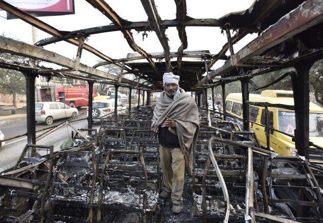 Ranvir Singh, bus conductor of Haryana Roadways bus which was set on fire near village Bhondsi in Gurgaon...