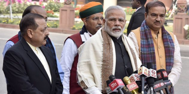 Prime Minister Narendra Modi with Parliamentary affairs ministers addresses the media on the first day...