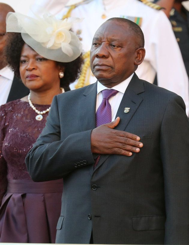 President Cyril Ramaphosa arrives to deliver his State of the Nation address at Parliament in Cape Town,...