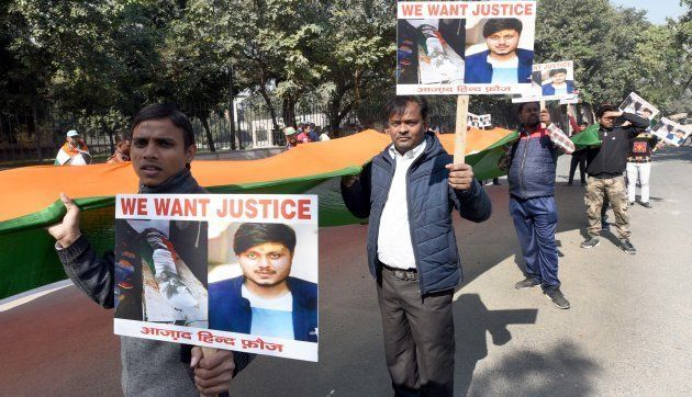 Activists of Azad Hind Fauj protest against the killing of Chandan Gupta in Uttar Pradesh's Kasganj district,...