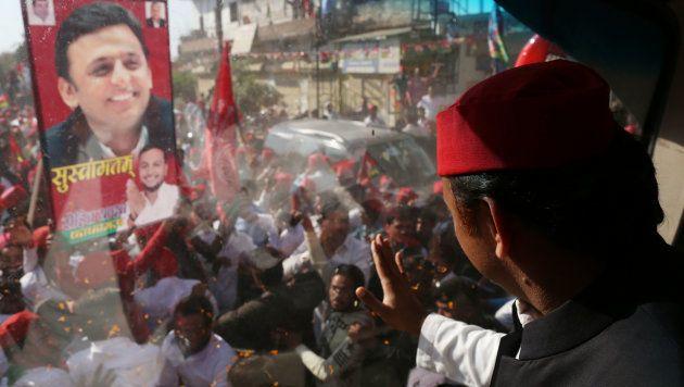 Samajwadi Party's national president Akhilesh Yadav campaigning in Phulpur on March 9,2018