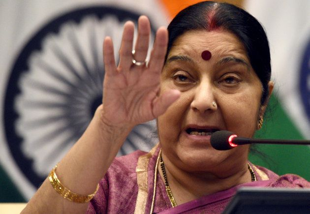 Minister of External Affairs Sushma Swaraj addresses a press conference on the issue of 39 Indians killed...