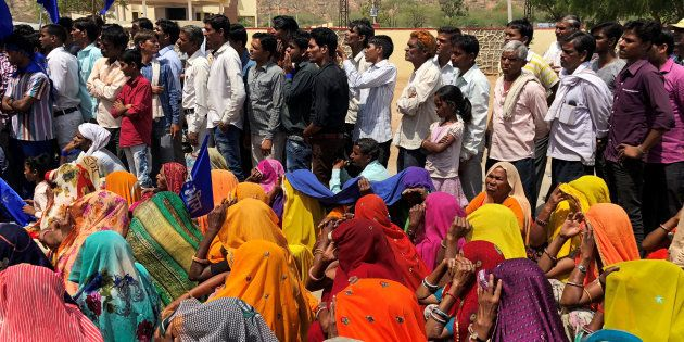 People belonging to the Dalit community take part in a nationwide strike called by several Dalit organisations,...