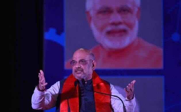 BJP President Amit Shah during an interactive session in Bengaluru on April 19,