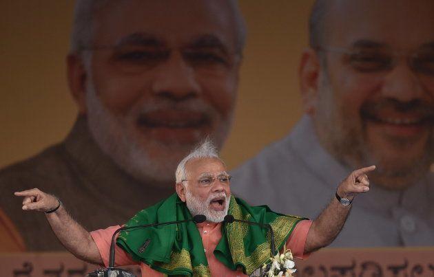 Prime Minister Narendra Modi addressing Farmer's Convention in Davangere on on February 27,