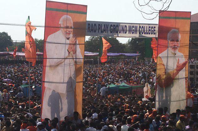 Prime Minister Narendra Modi addresses a BJP rally in Udupi on May 1,