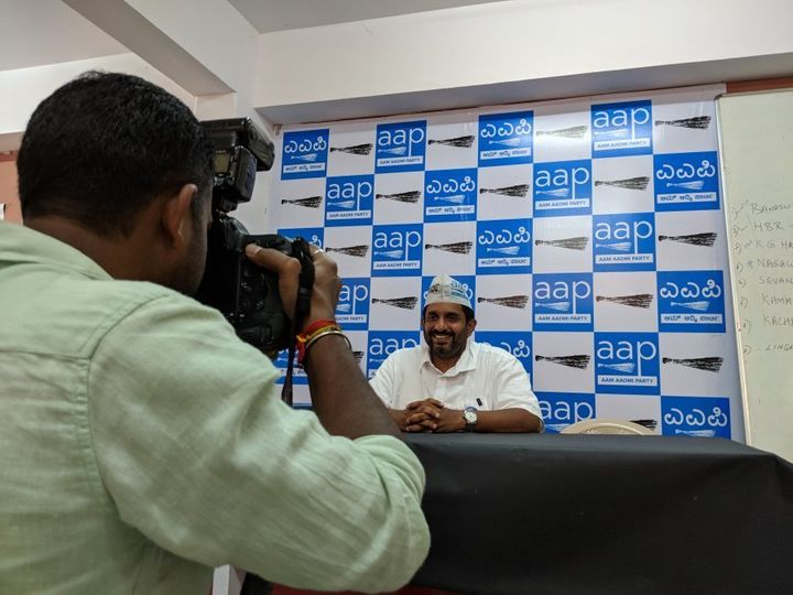 Aam Aadmi Party state convener Prithvi Reddy poses for a photograph in Bengaluru, Karnataka on May 3, 2018.