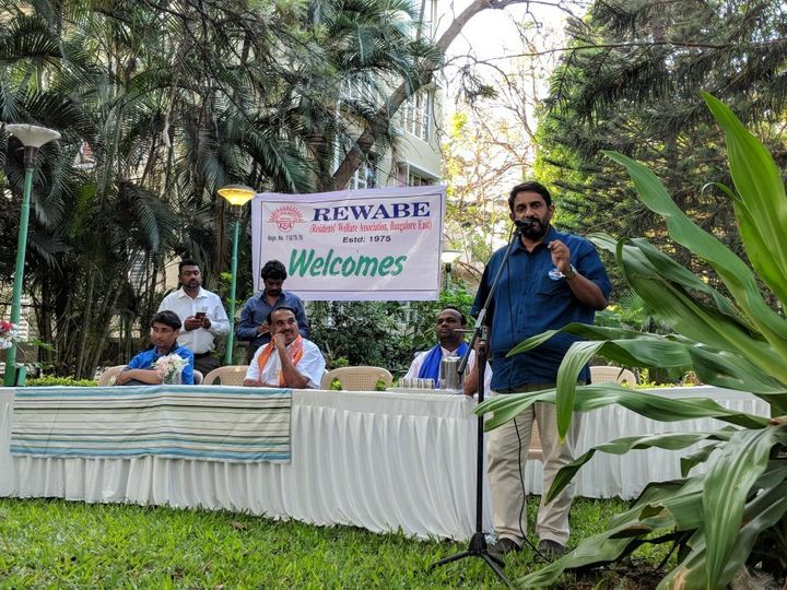 Candidates contesting at the Sarvagnanagar constituency participate in a debate organised by residents on May 5, 2018.