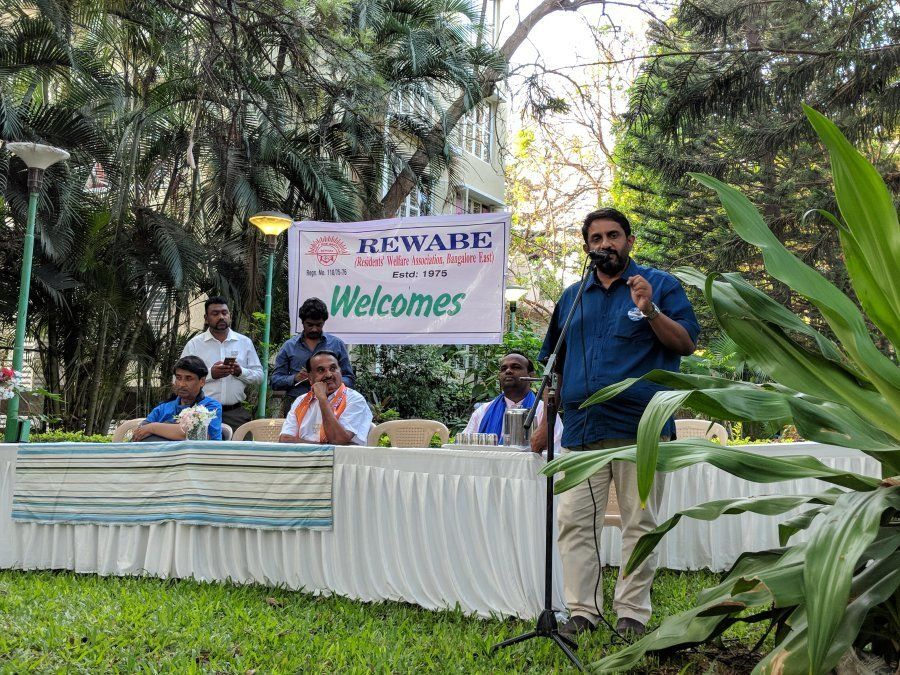 Candidates contesting at the Sarvagnanagar constituency participate in a debate organised by residents...