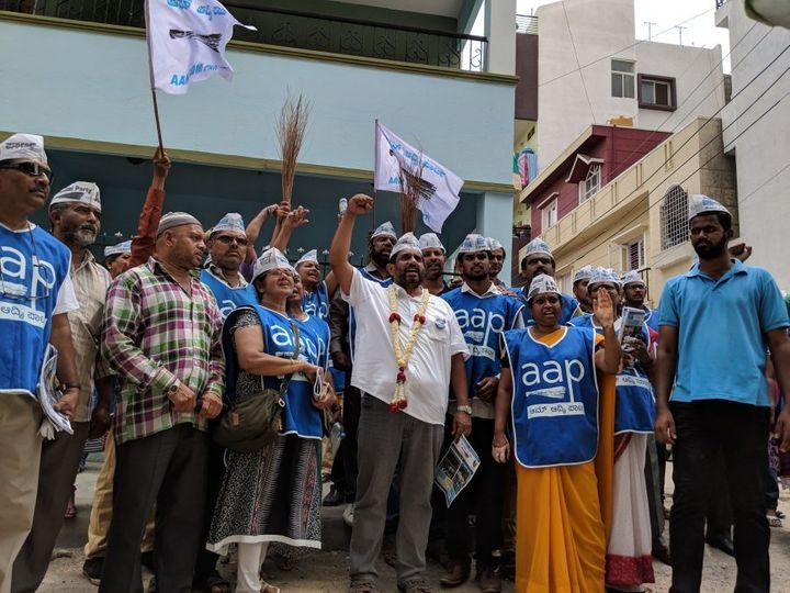Prithvi Reddy with AAP volunteers during a campaign rally in HBR layout in Bengaluru, Karnataka, on May 3, 2018.