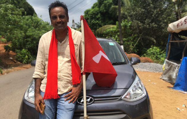 Muneer Katipalla, CPI (M) candidate, campaigning in Mannur, Karnataka in May, 2018.