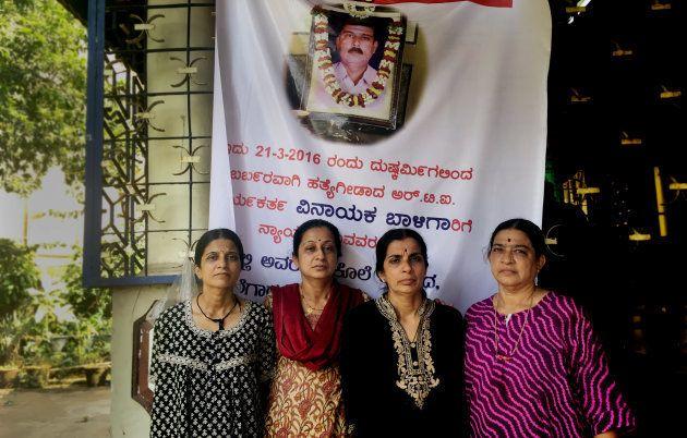 Vinayak Baliga's sisters at their home in Mangalore in May, 2018.