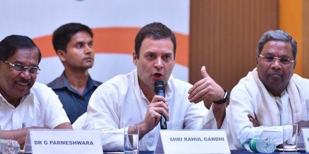 BENGALURU, INDIA - MAY 10: All India Congress Committee president Rahul Gandhi flanked by Karnataka Pradesh...