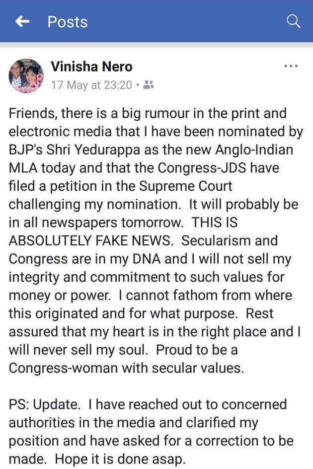 Vinisha Nero clarified her position on social