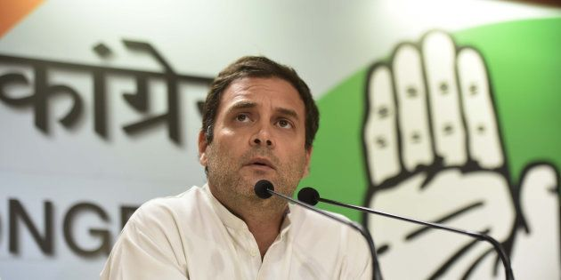 Congress President Rahul Gandhi addresses the media after B.S. Yeddyurappa resigned as Karnataka Chief...