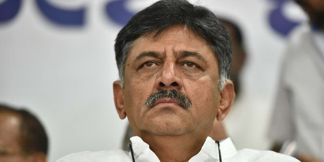 Congress leader DK Shivakumar looks on during the death anniversary program of Rajiv Gandhi at Karnataka...