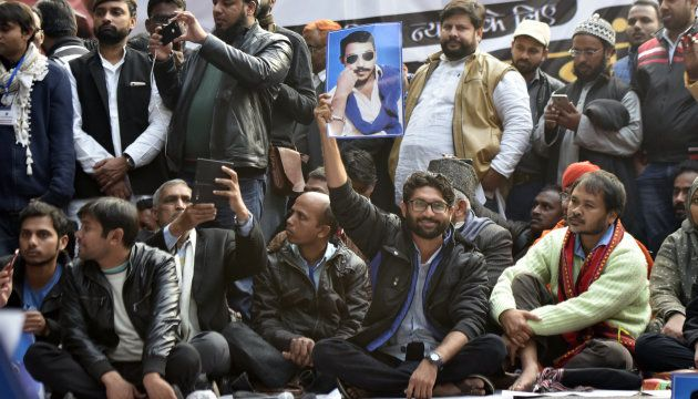 Youth leaders Jignesh Mevani, Akhil Gogoi and Kanhaiya Kumar at a rally to release Chandrashekhar Azad...