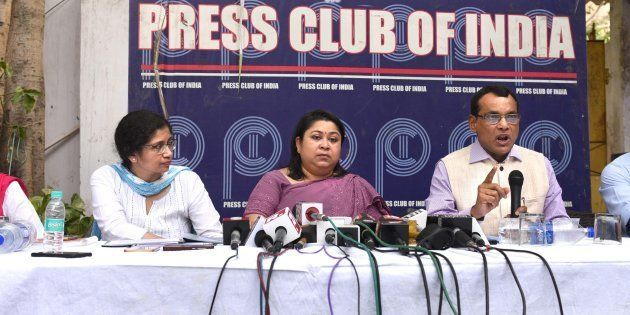 IAS officers during a press conference to counter AAP's claim that they are on strike. Press Club of...