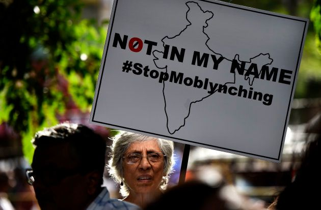 People participated in an anti-lynching protest on July 3, 2017 in Mumbai,