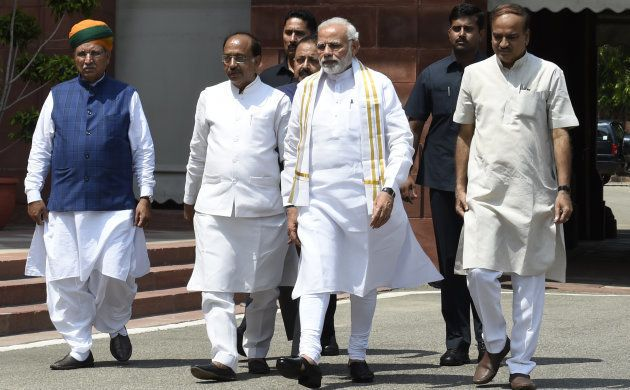 PM Narendra Modi arrives to address the media ahead of the Monsoon Session on July 18,
