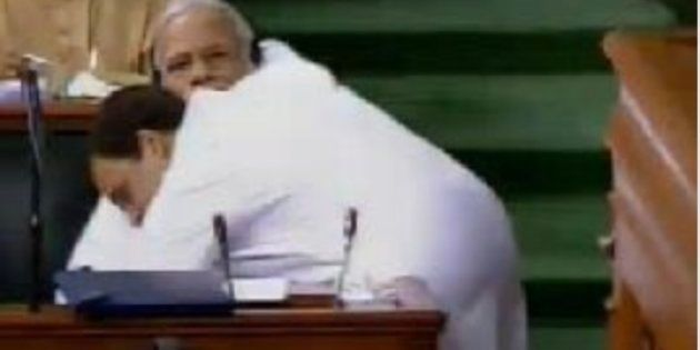 Rahul Gandhi Hugs Narendra Modi In Parliament, Congress President Asks PM To Look Him In The