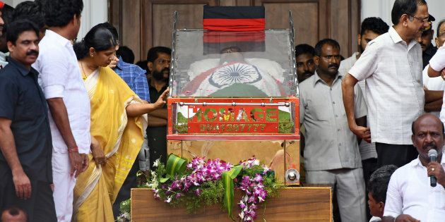 Karunanidhi Funeral: Two Dead In Stampede Outside Chennai's Rajaji Hall As Thousands Still Pour In To...