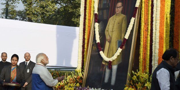 Prime Minister Narendra Modi paying tribute to Dr B.R. Ambedkar on his 61st mahaparinirvan diwas (Death...