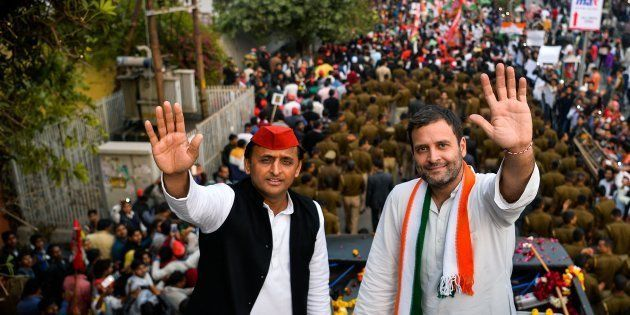 Then Congress party Vice President Rahul Gandhi (R) and Uttar Pradesh state Chief Minister Akhilesh Yadav...