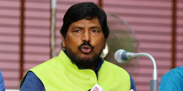 Ramdas Athawale addressing to media person during the press conference in Jaipur, Rajasthan, India on...