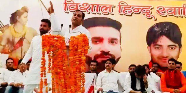 UP Navnirman Sena chief Amit Jani introduces Hariom Sisodia, accused of lynching a Muslim ironsmith,...