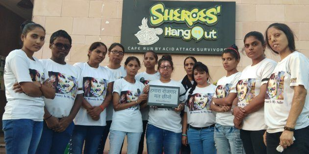 Acid attack survivors at Sheroes' Hangout in