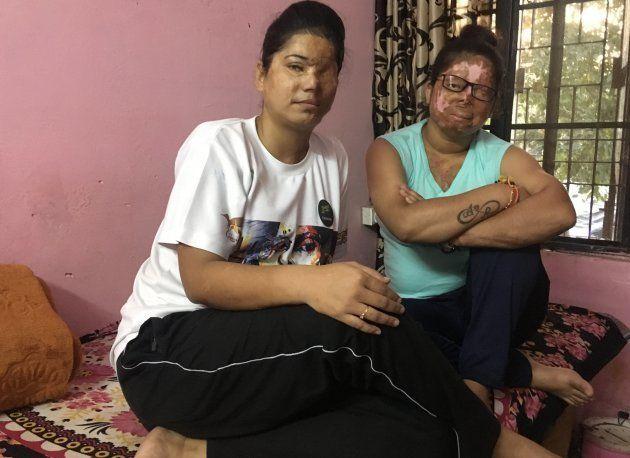 (From left) Farah Khan and Anshu Rajput, acid attack survivors, in