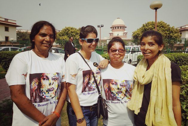 The survivors in front of the Supreme Court in New