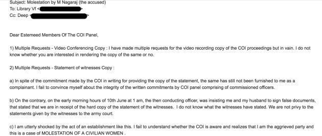 Complainant's email requesting video recordings of the Court of Inquiry proceedings and statement of...