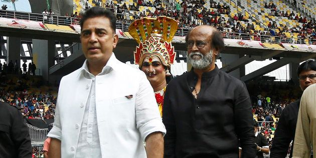 Superstars Kamal Haasan and Rajinikanth in a file