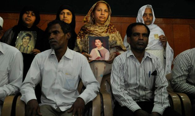 Family members of the victims of the 1987 Hashimpura massacre during a press conference in March, 2015...