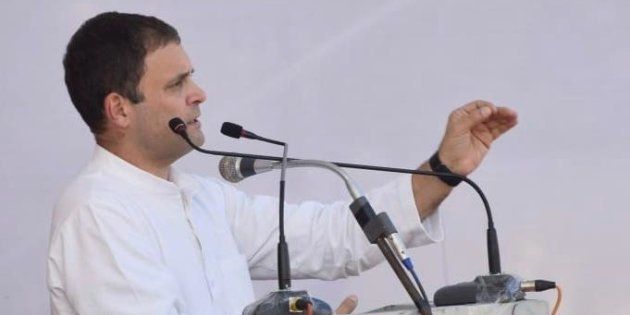 Rahul Gandhi addressing a rally in