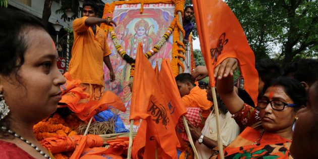 Women activists and supporters of BJP during a Ram Navami procession in Kolkata in