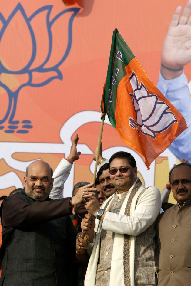 Chandra Bose (right) with Amit Shah in a file photo from three years