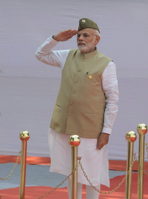 Prime Minister Narendra Modi during a programme in New Delhi commemorating the 75th Anniversary of the...